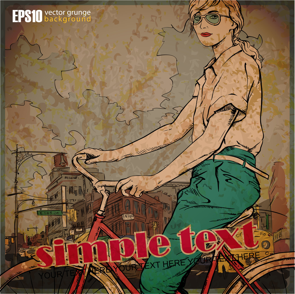 Eps10 Vintage Illustration With Beautiful Fashion Girl With Bicucle