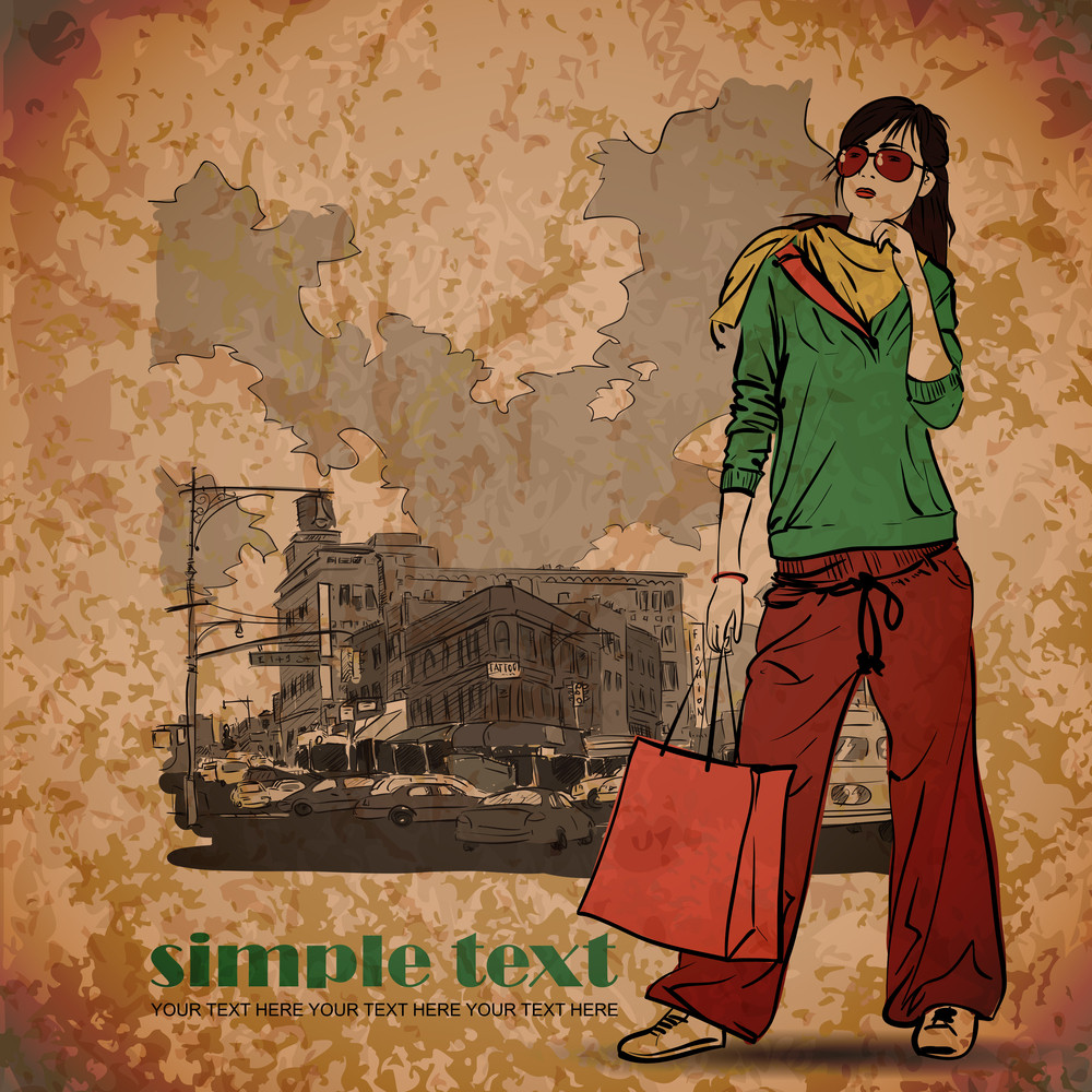 Eps10 Vintage Illustration With Beautiful Fashion Girl