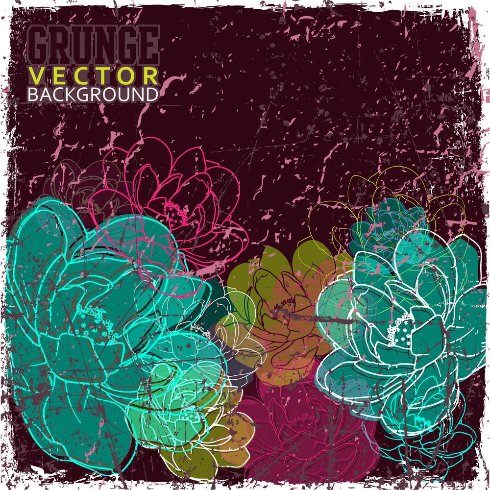 Eps10 Vintage Scratched Floral Background
