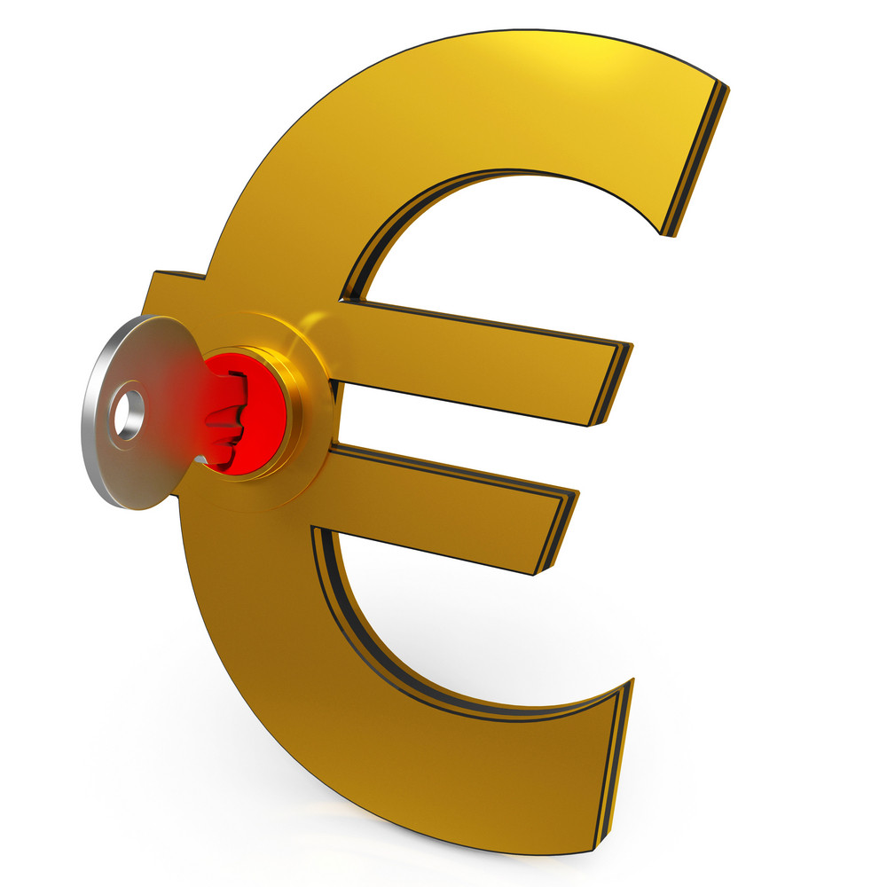 Euro Key Showing Savings And Finance