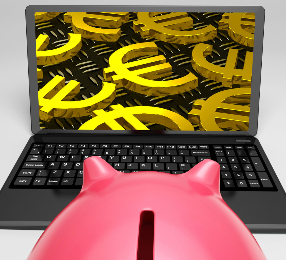 Euro Laptop Screen Shows Money In Europe