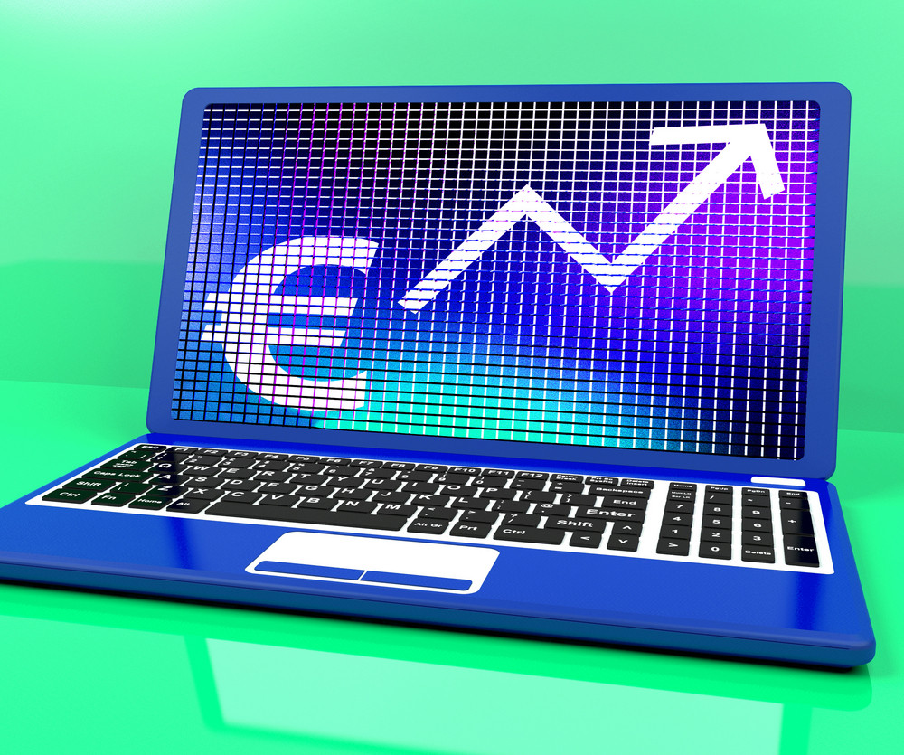 Euro Sign And Up Arrow On Laptop For Earnings Or Profit
