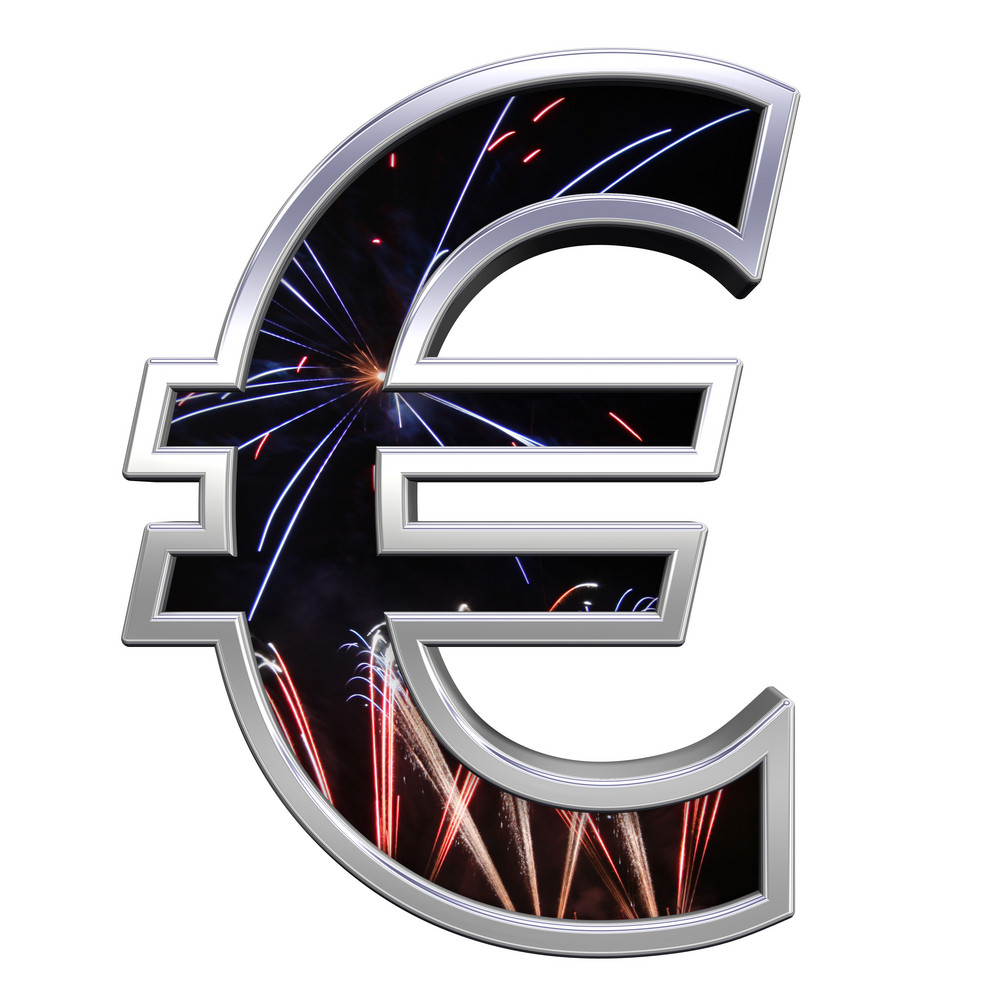 Euro Sign From Firework With Chrome Frame Alphabet Set