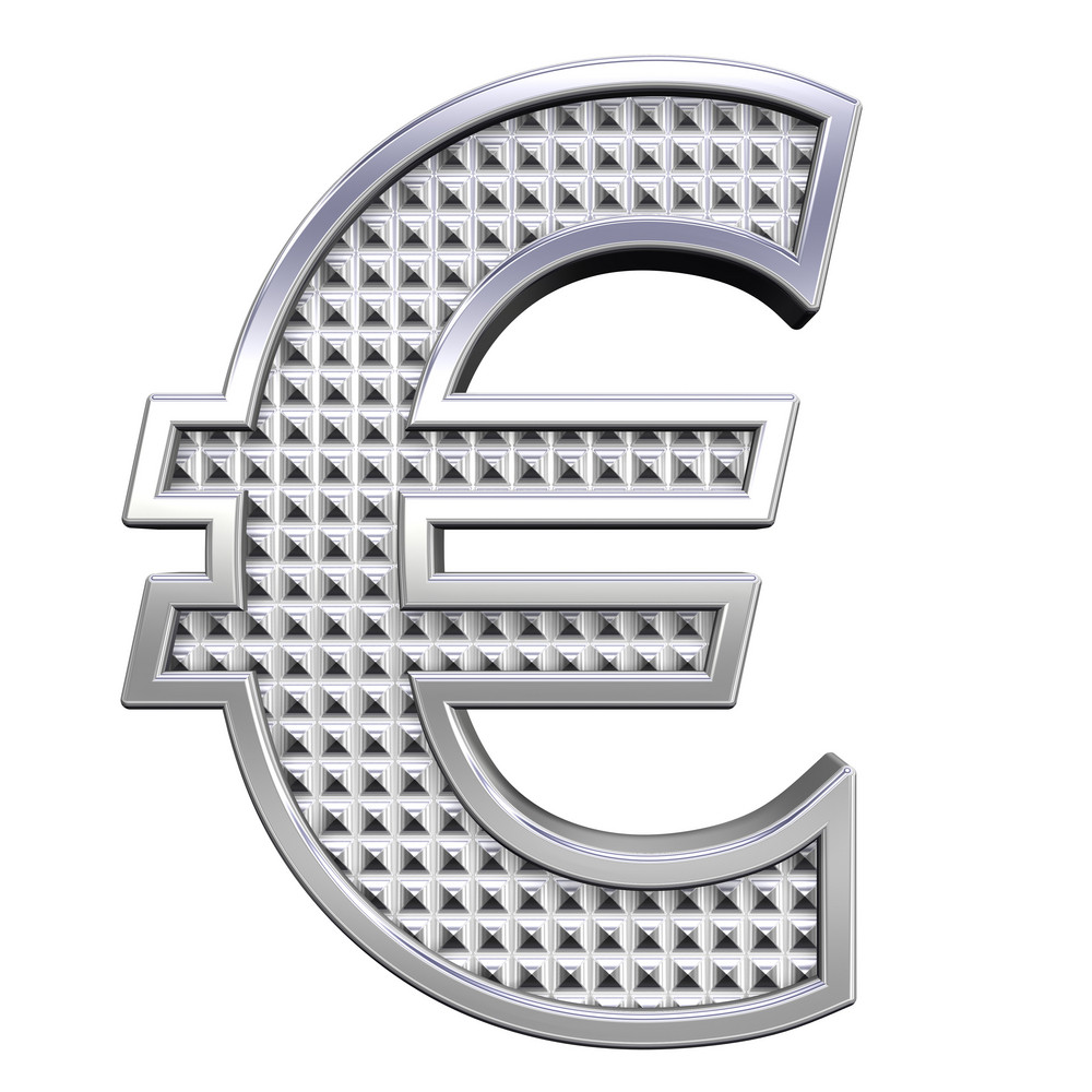Euro Sign From Knurled Chrome Alphabet Set