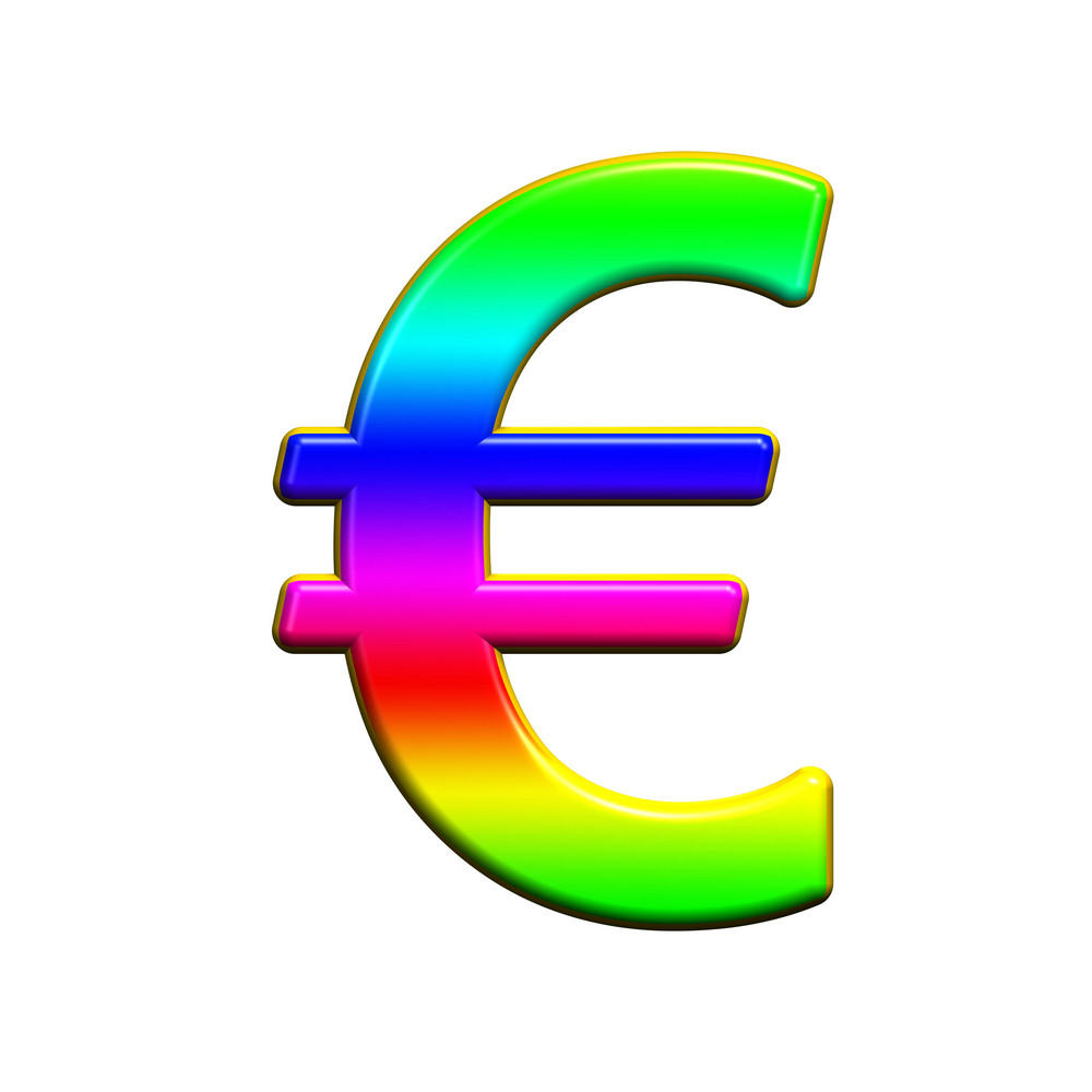 Euro Sign From Rainbow Alphabet Set, Isolated On White