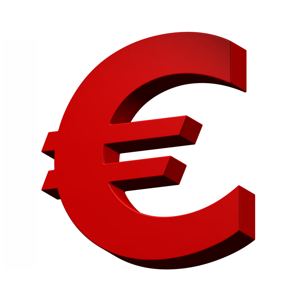 Euro Sign From Red Alphabet Set, Isolated On White