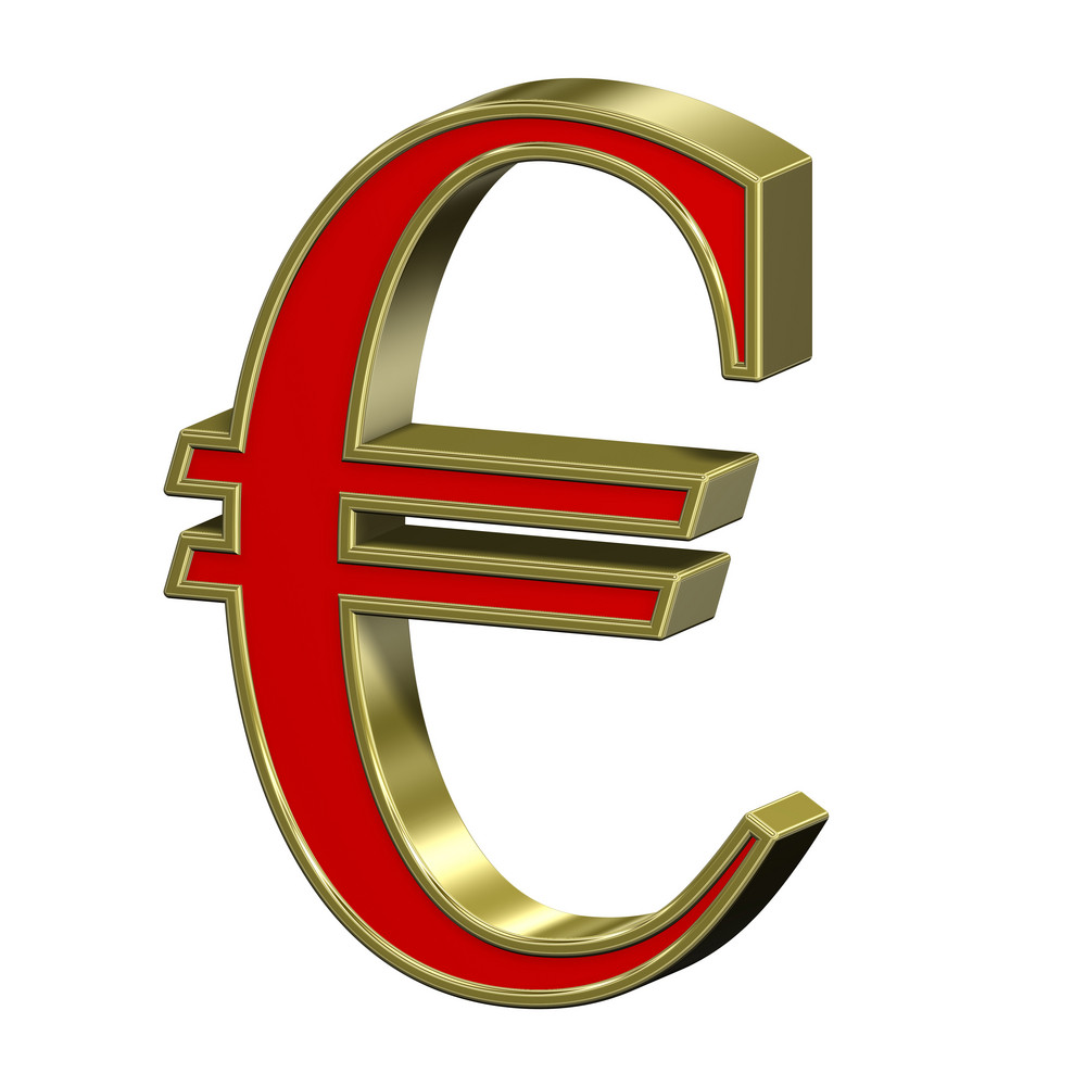Euro Sign From Red With Gold Frame Roman Alphabet Set, Isolated On White