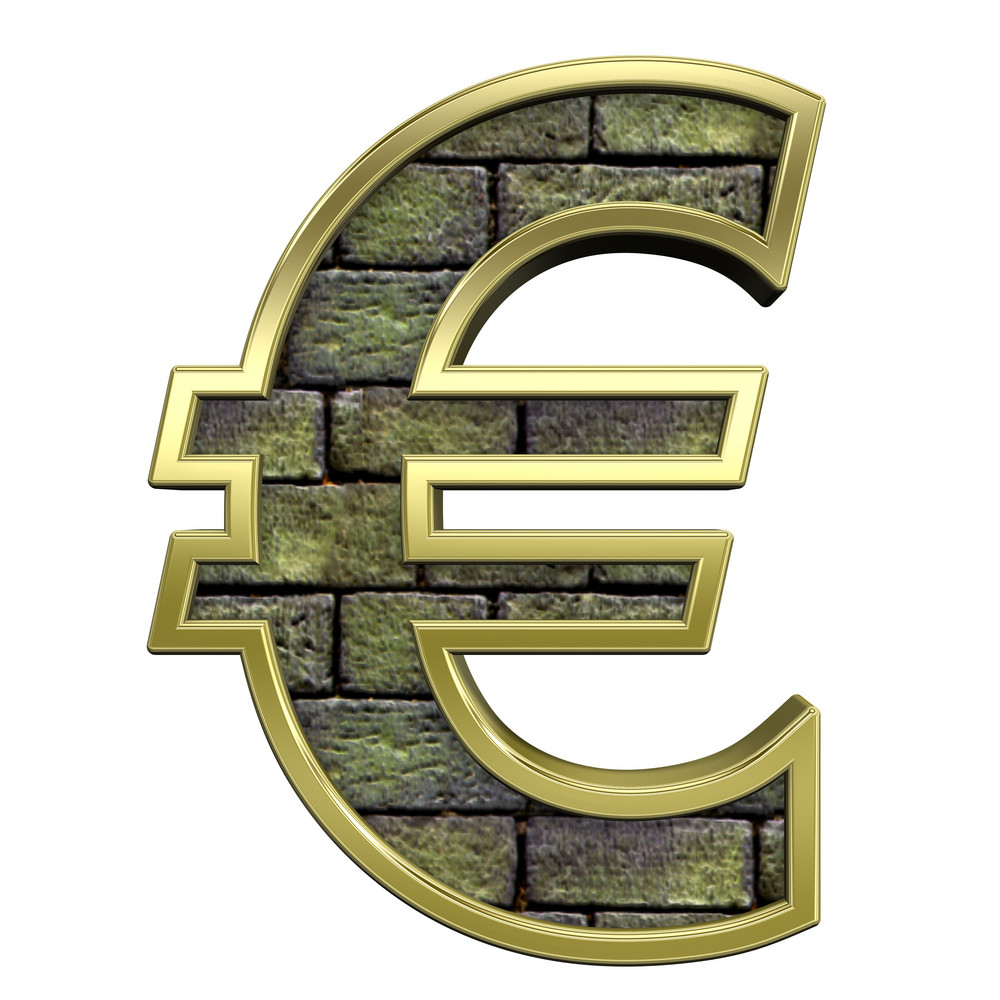 Euro Sign From Stone With Gold Frame Alphabet Set