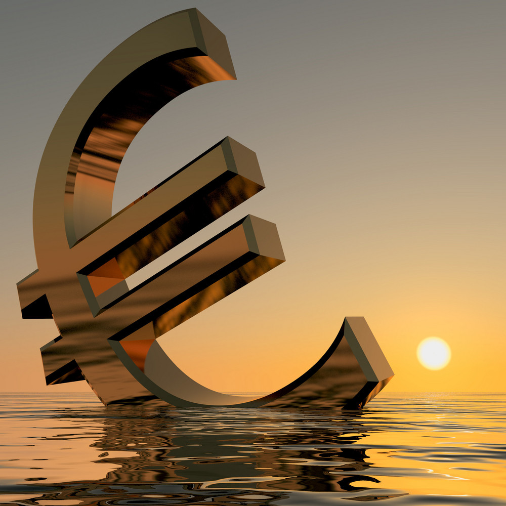 Euro Sinking And Sunset Showing Depression Recession And Economic Downturns