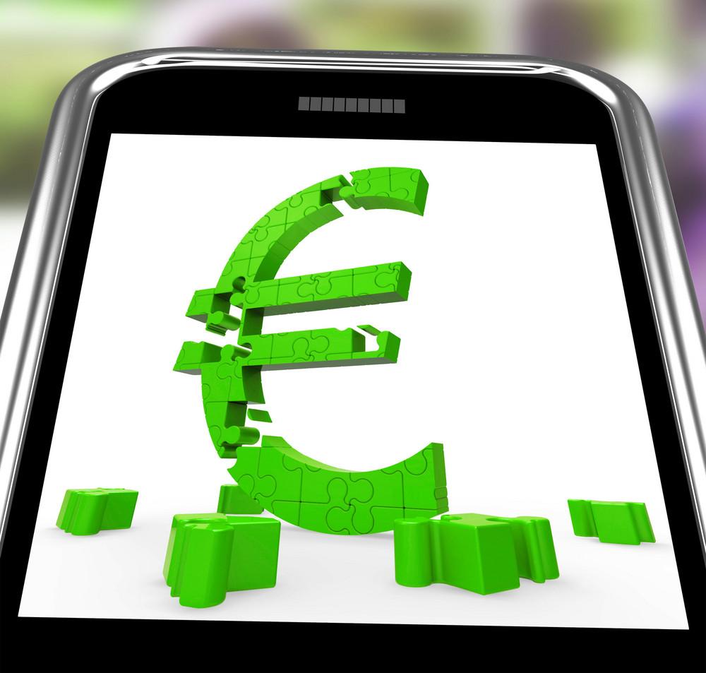 Euro Symbol On Smartphone Shows European Money