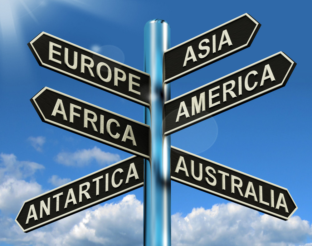 Europe Asia America Africa Antartica Australia Signpost Showing Continents For Travel Or Tourism