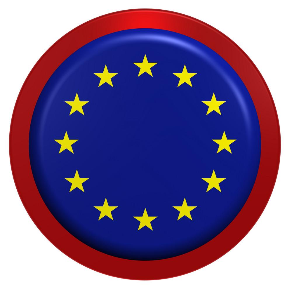 European Union Flag On The Round Button Isolated On White.