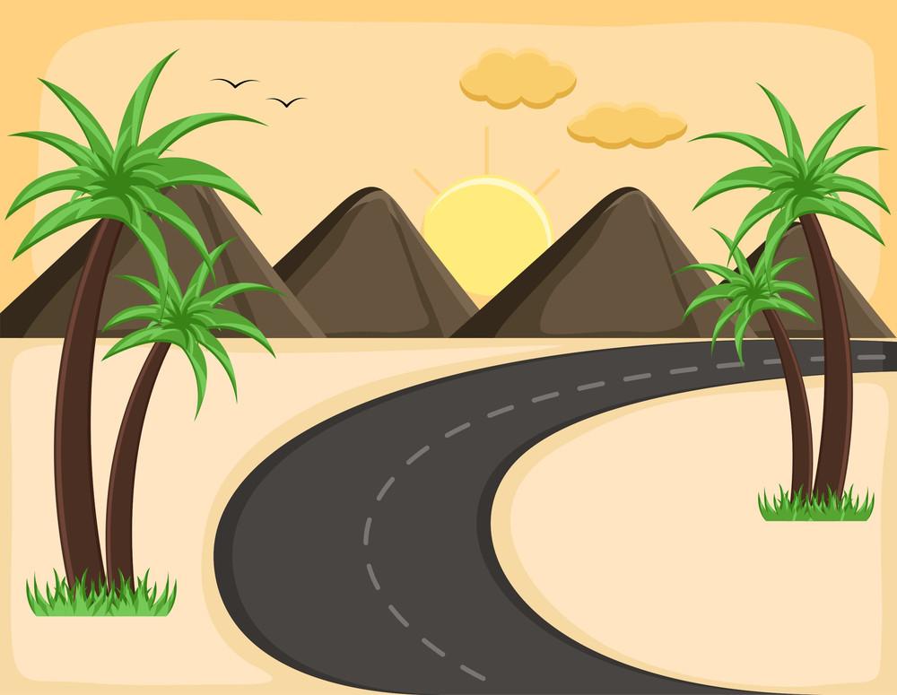 Evening Landscape - Cartoon Background Vector