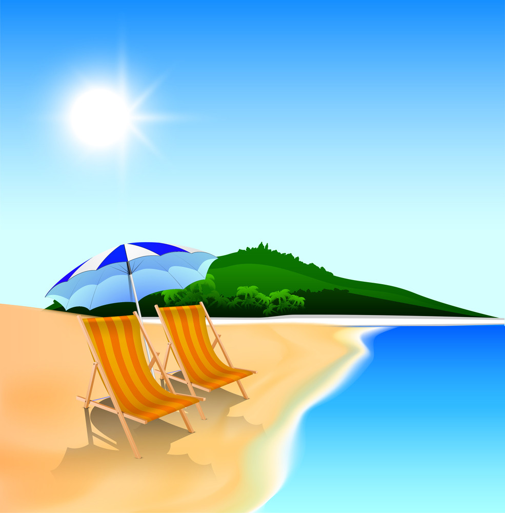 Evening Summer Background At Seaside With Beach Chairs And Umbrella