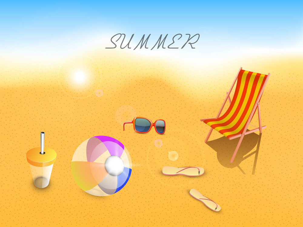 Evening Summer Background With Sun Glasses