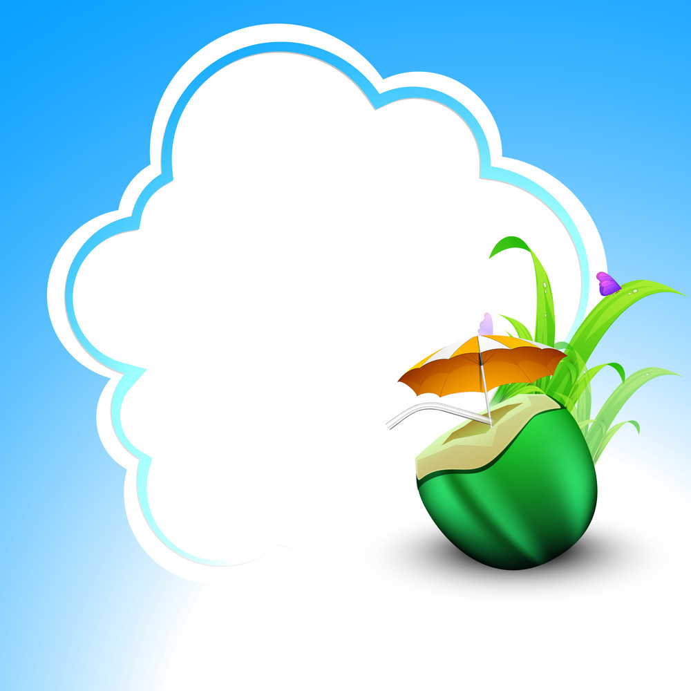 Evening Summer Concept With Coconut Water On Cloud Background.