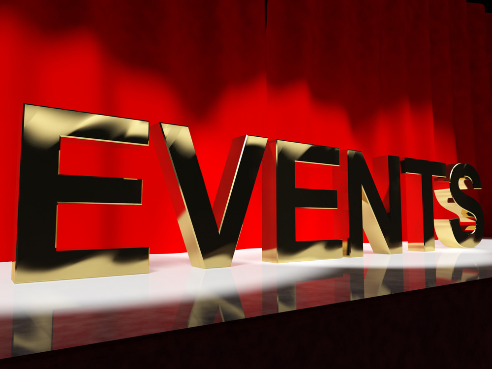 Events Word On Stage Showing Agenda Concerts Festivals And Parties