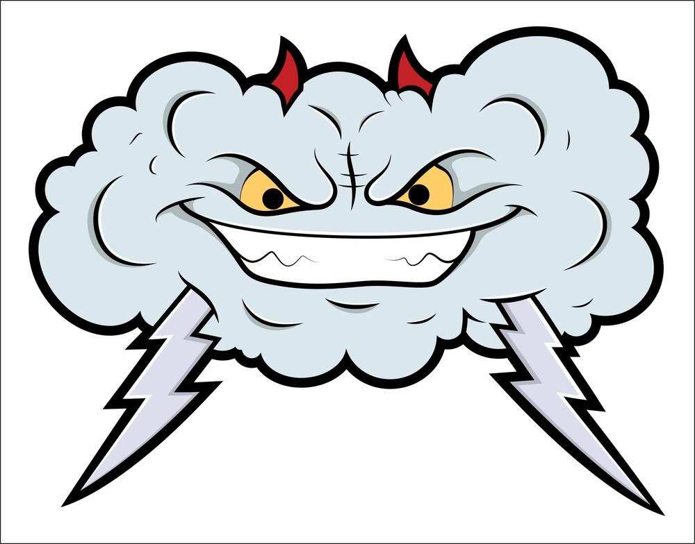 Evil Cloud Comic Vector Illustration