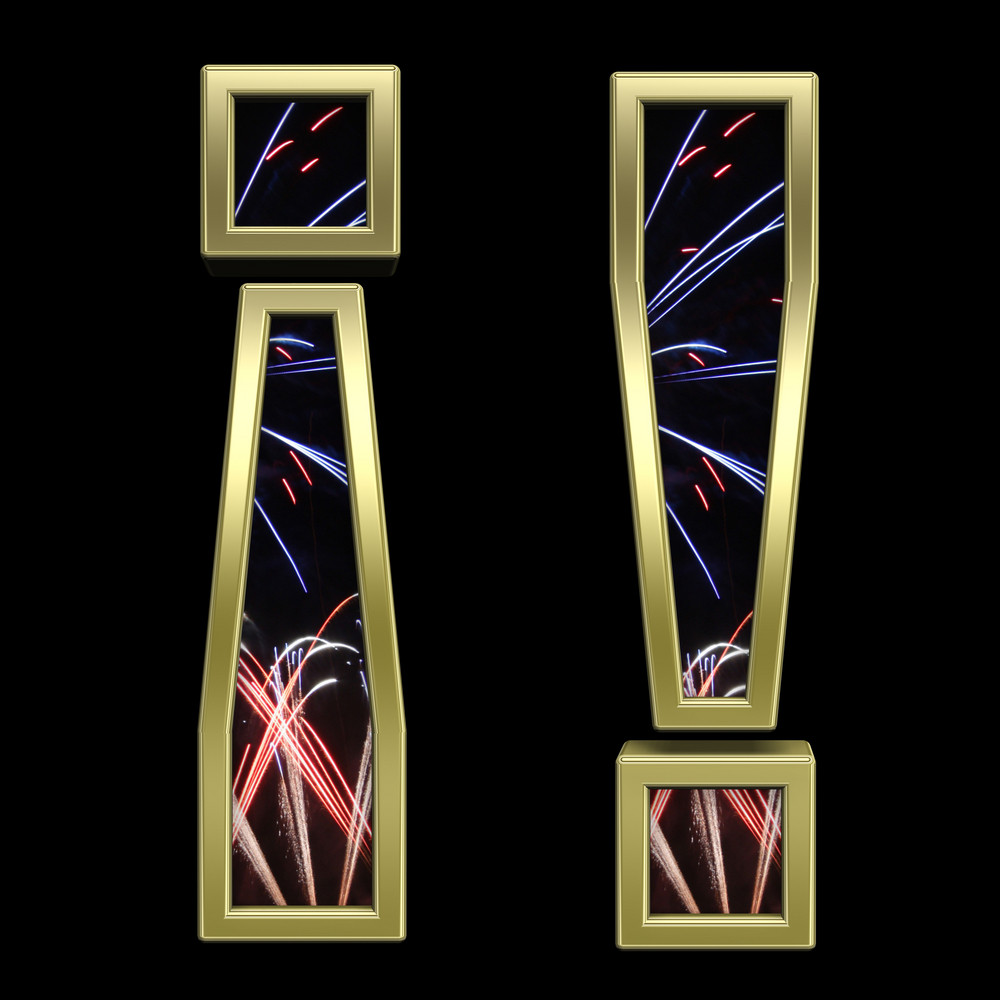 Exclamation Mark From Firework With Gold Frame Alphabet Set