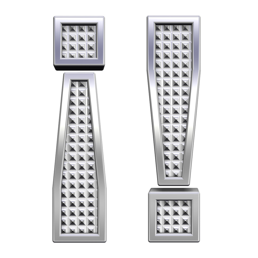 Exclamation Mark From Knurled Chrome Alphabet Set