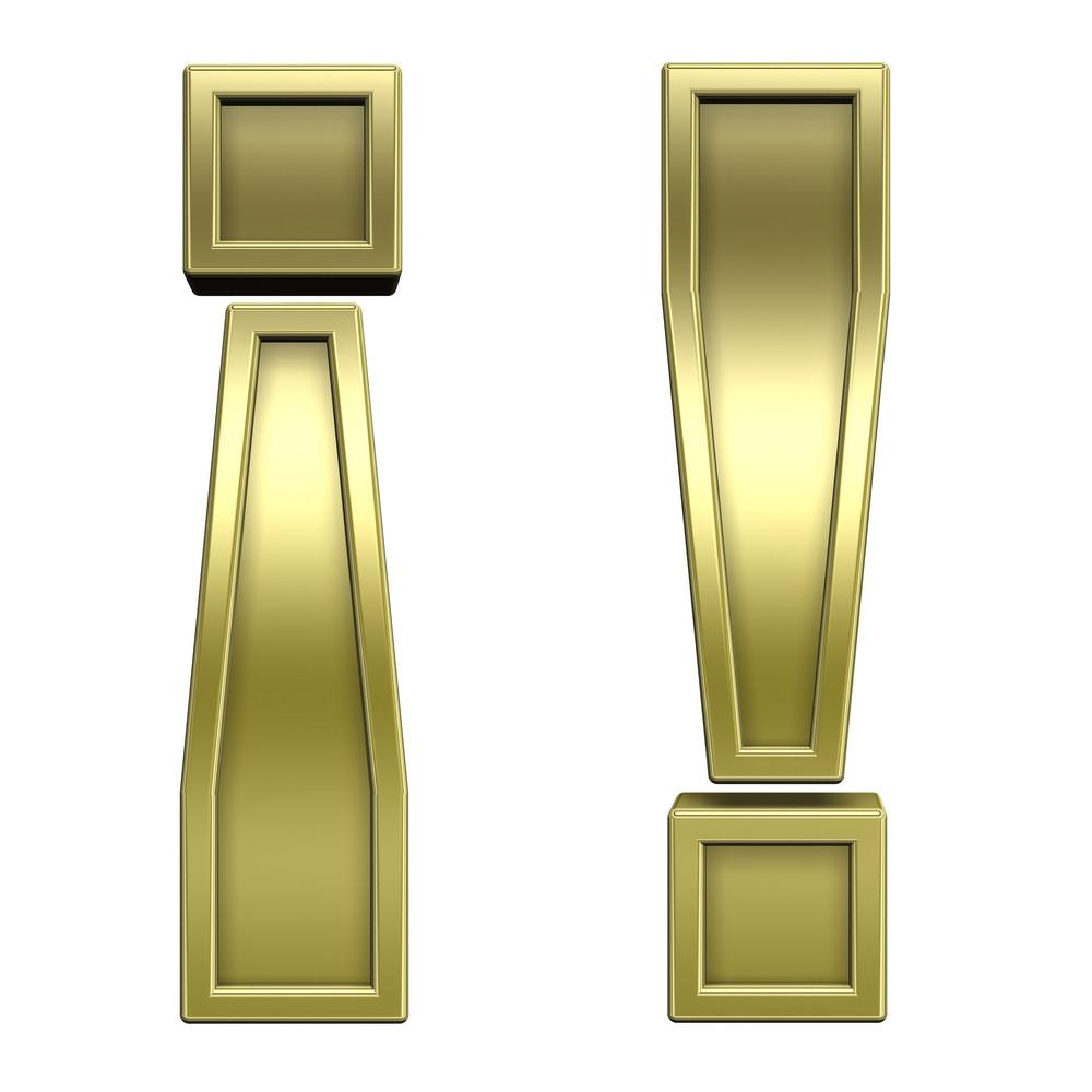 Exclamation Mark From Shiny Gold Alphabet Set