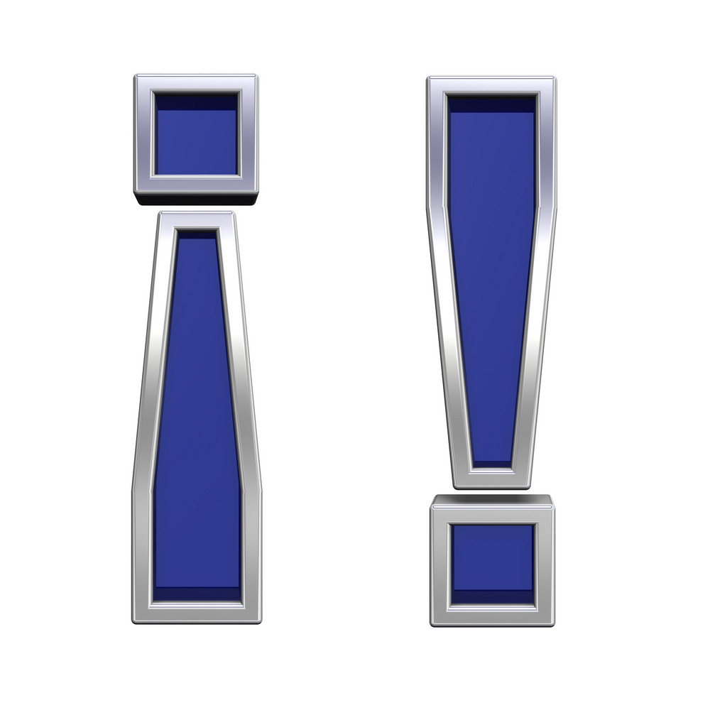 Exclamation Mark Sign From Blue Glass With Chrome Frame Alphabet