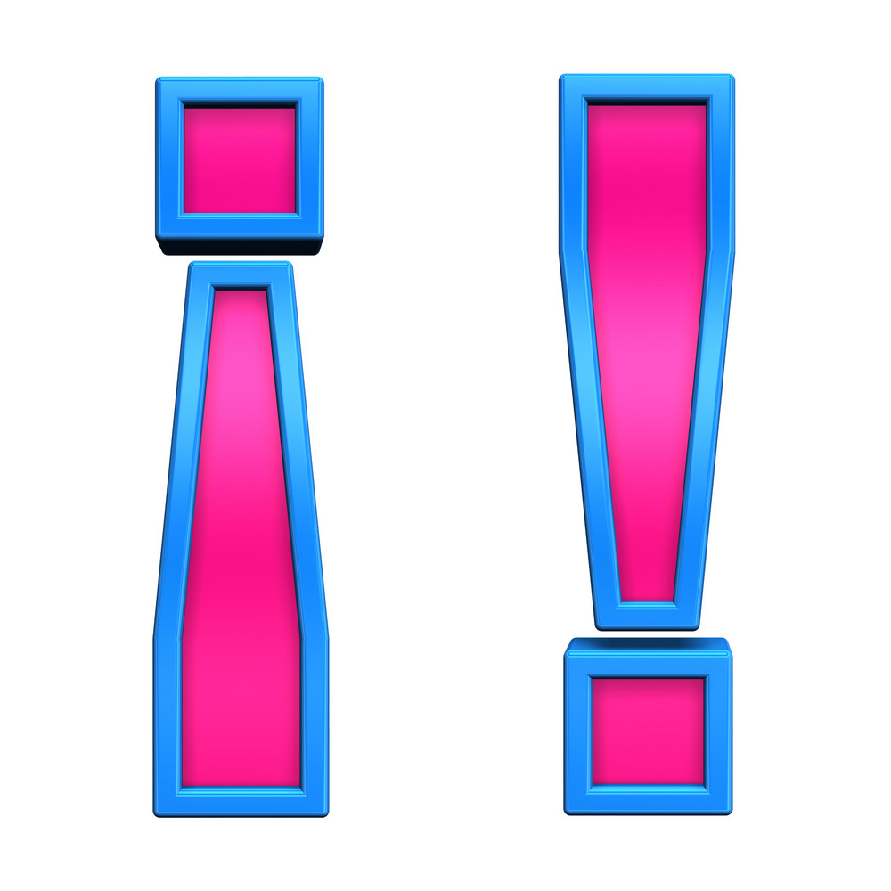 Exclamation Mark Sign From Pink With Blue Frame Alphabet Set, Isolated On White