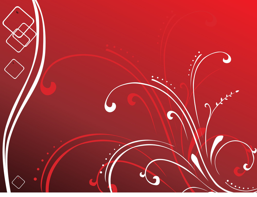 Exotic Flower Vector White And Red Wallpaper Royalty Free