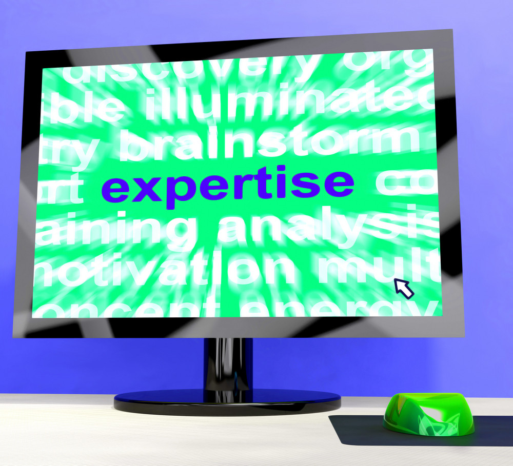 Expertise Word On Computer Showing Skills And Knowledge