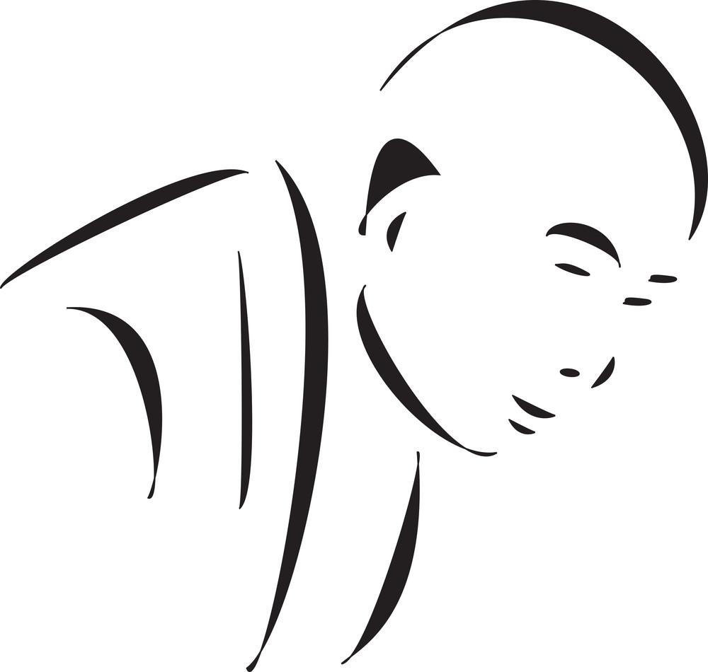Face Of A Bald Monk.