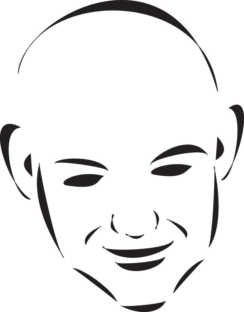 Face Of A Bald Young Boy.