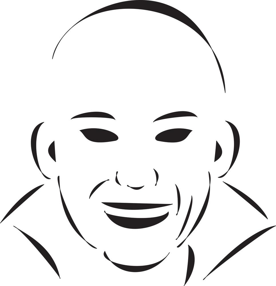 Face Of A Smiling Bald Boy.