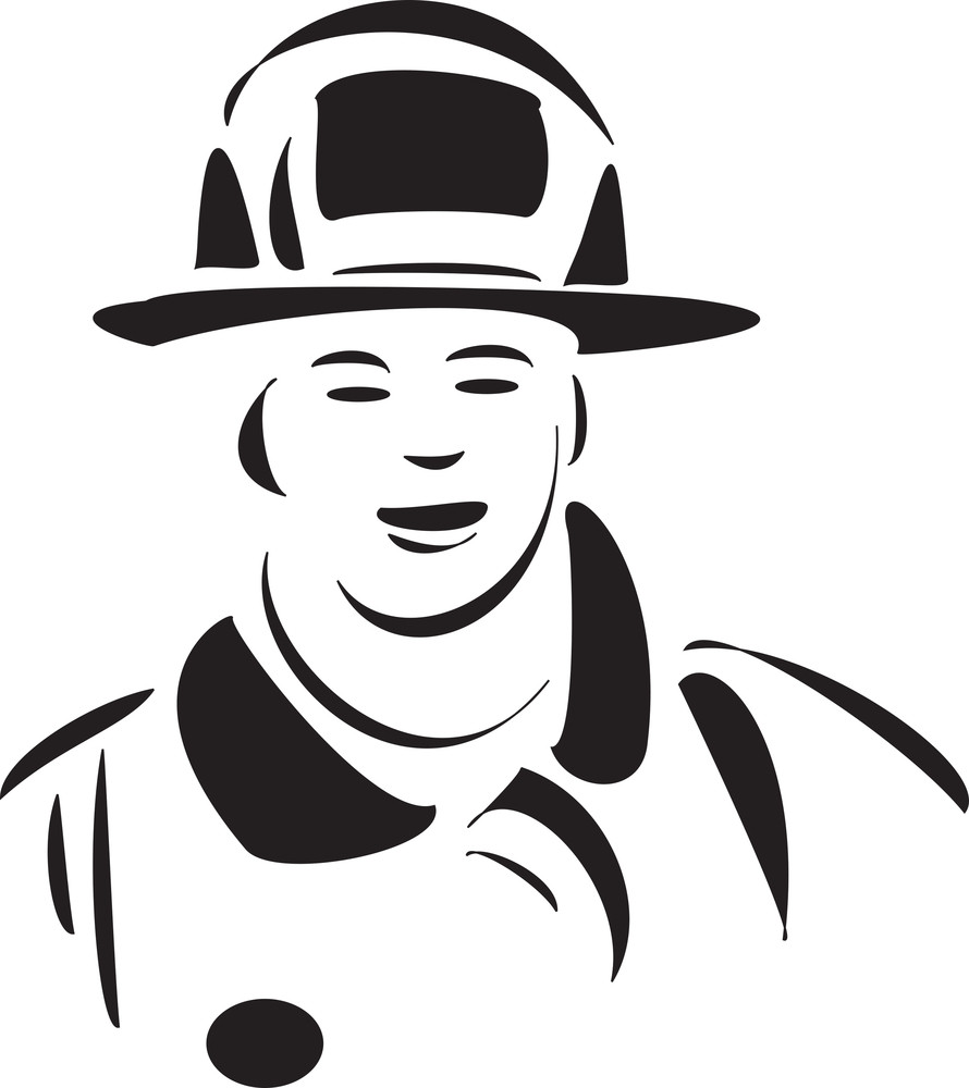 Face Of A Young Fire Fighter.