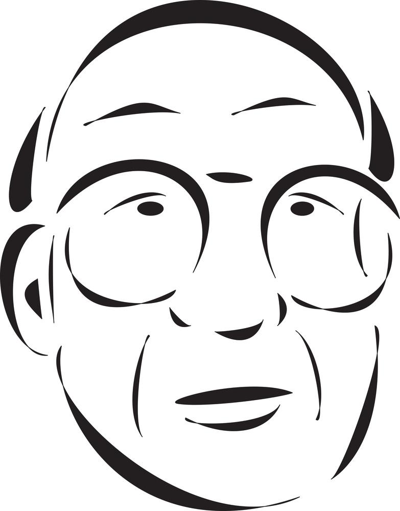 Face Of An Old Bald Man.