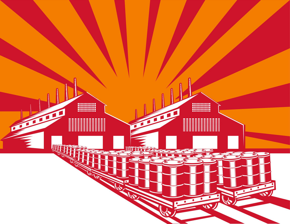Factory Building Oil Drum Barrel Retro