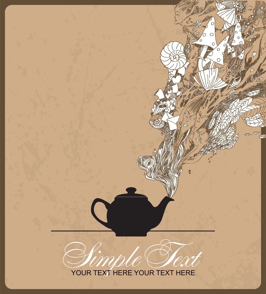 Fantasy Vector Illustration Coffee Pot.