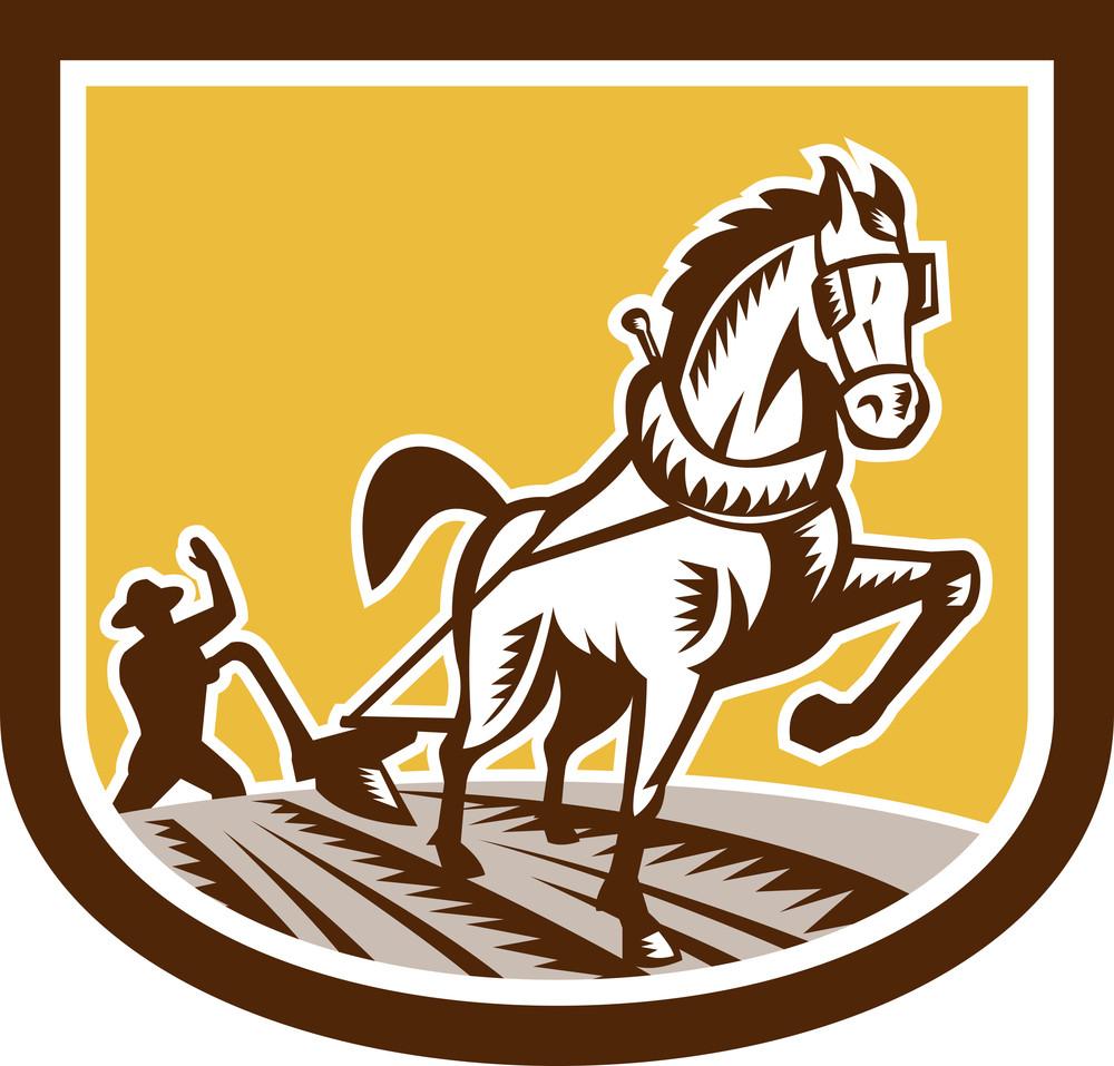 Farmer And Horse Plow Farm Crest Woodcut Retro