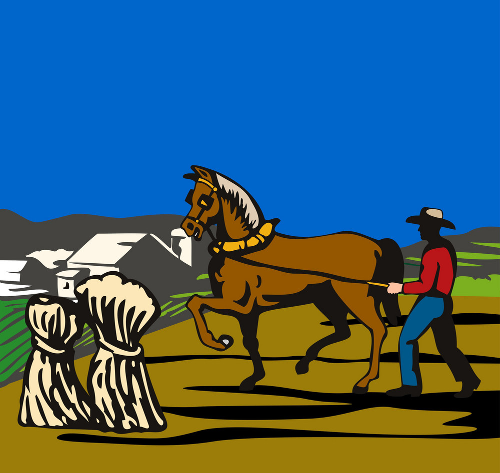 Farmer And Horse Plowing Field