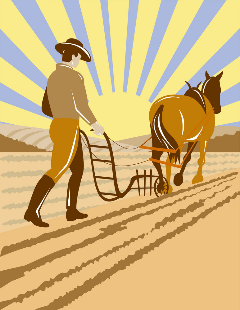 Farmer And Horse Plowing The Farm