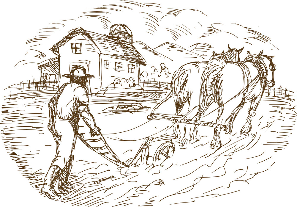 Farmer And Horse Plowing The Field With Barn Farmhouse