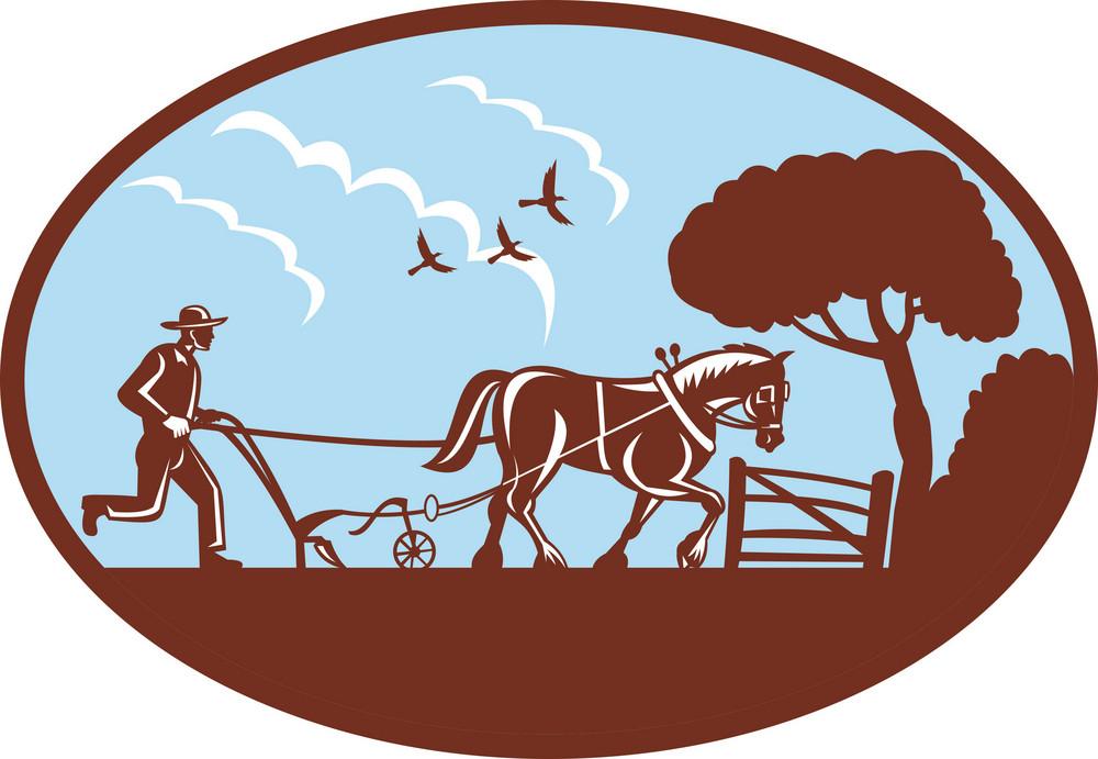 Farmer Plowing Horseside
