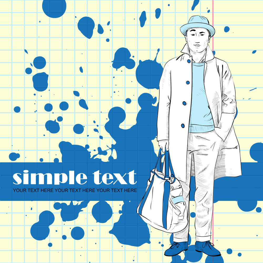 Fashion Boy In Sketch-style On A Grunge-background. Vector Illustration.