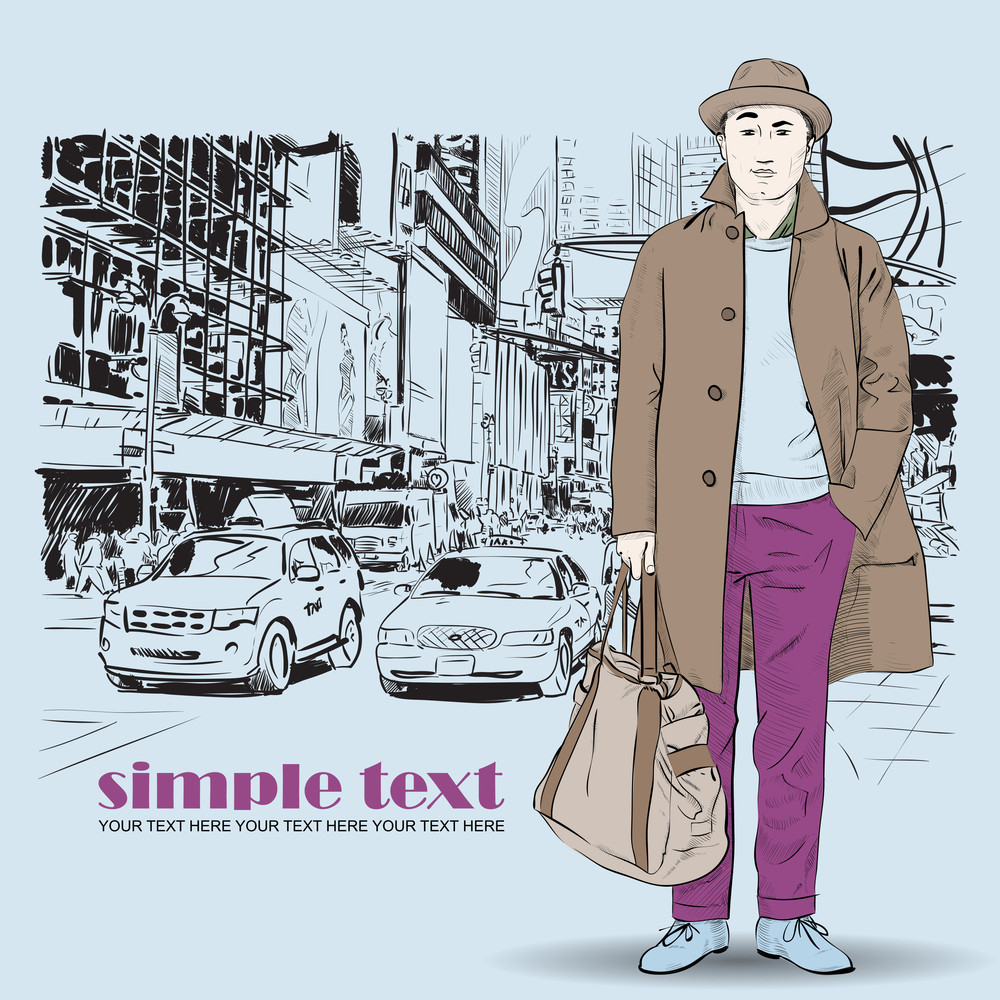 Fashion Boy In Sketch-style On A Megapolis-background. Vector Illustration.
