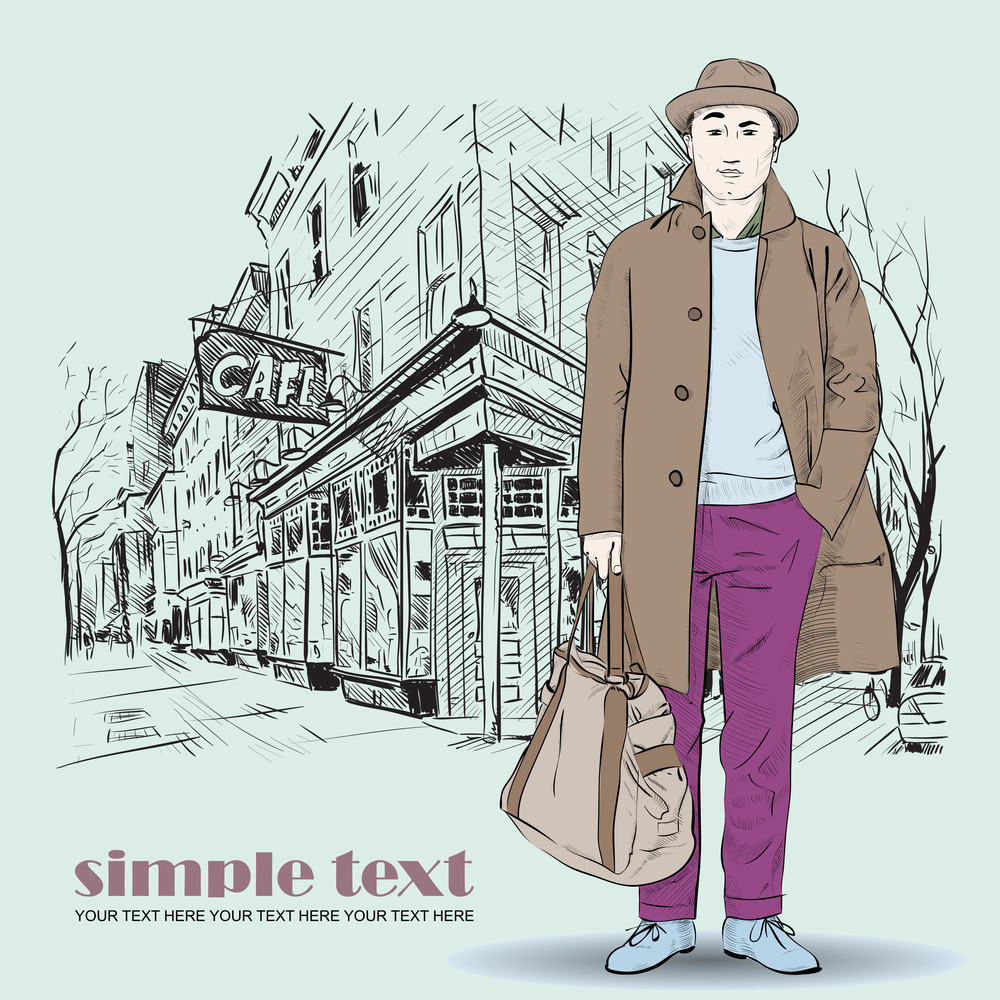 Fashion Boy In Sketch-style On A Street-cafe-background. Vector Illustration.