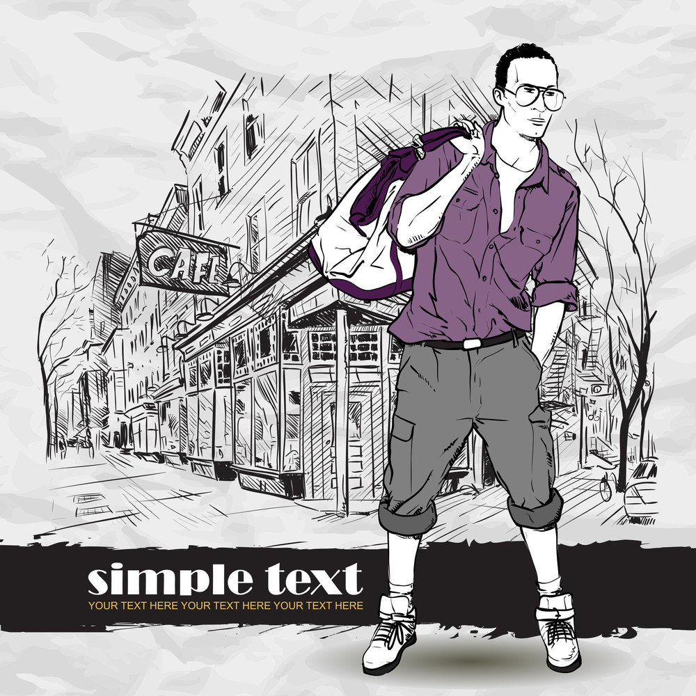 Fashion Boy With Bag And Glasses In Sketch-style On A Street-cafe-background. Vector Illustration.