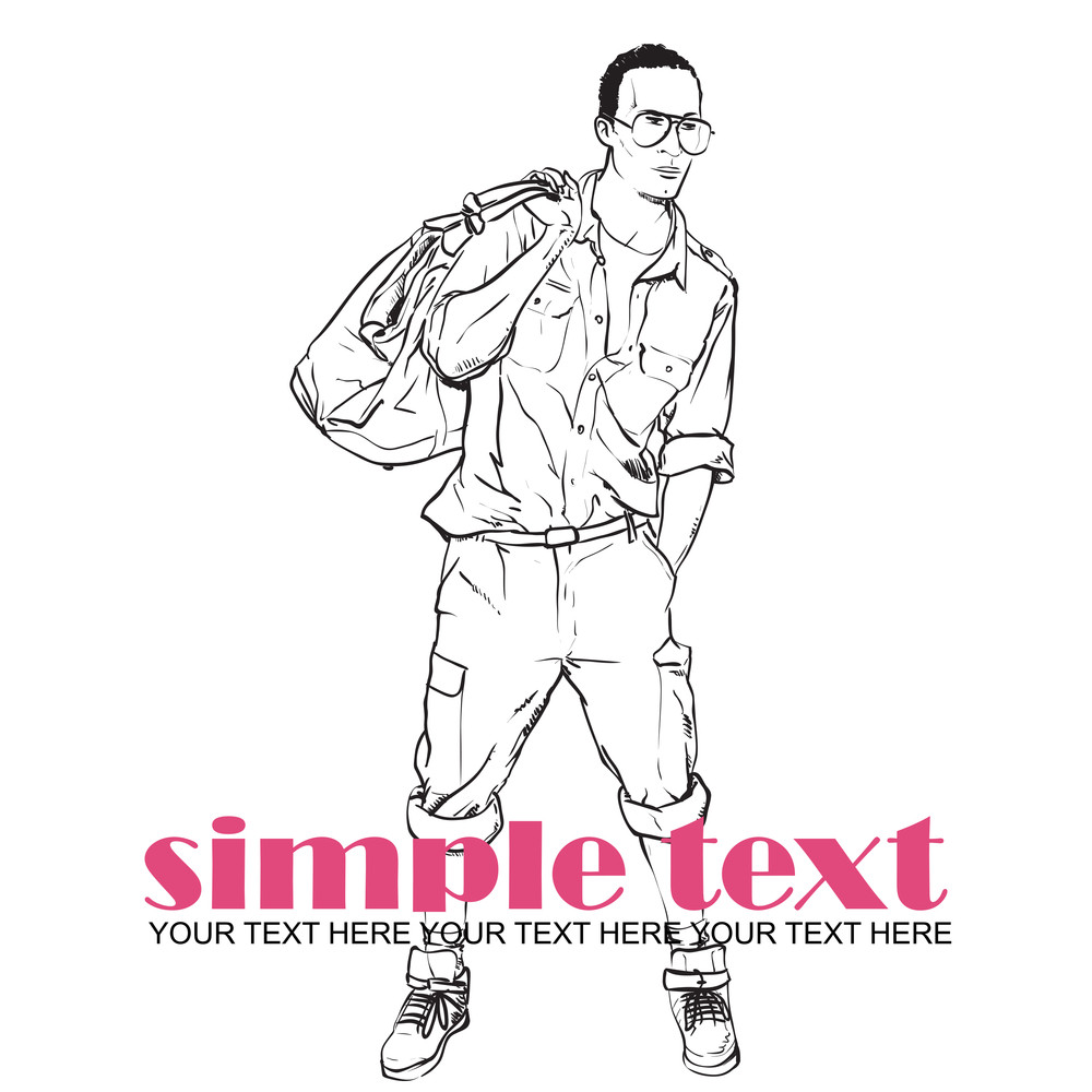 Fashion Boy With Bag And Glasses In Sketch-style. Vector Illustration.