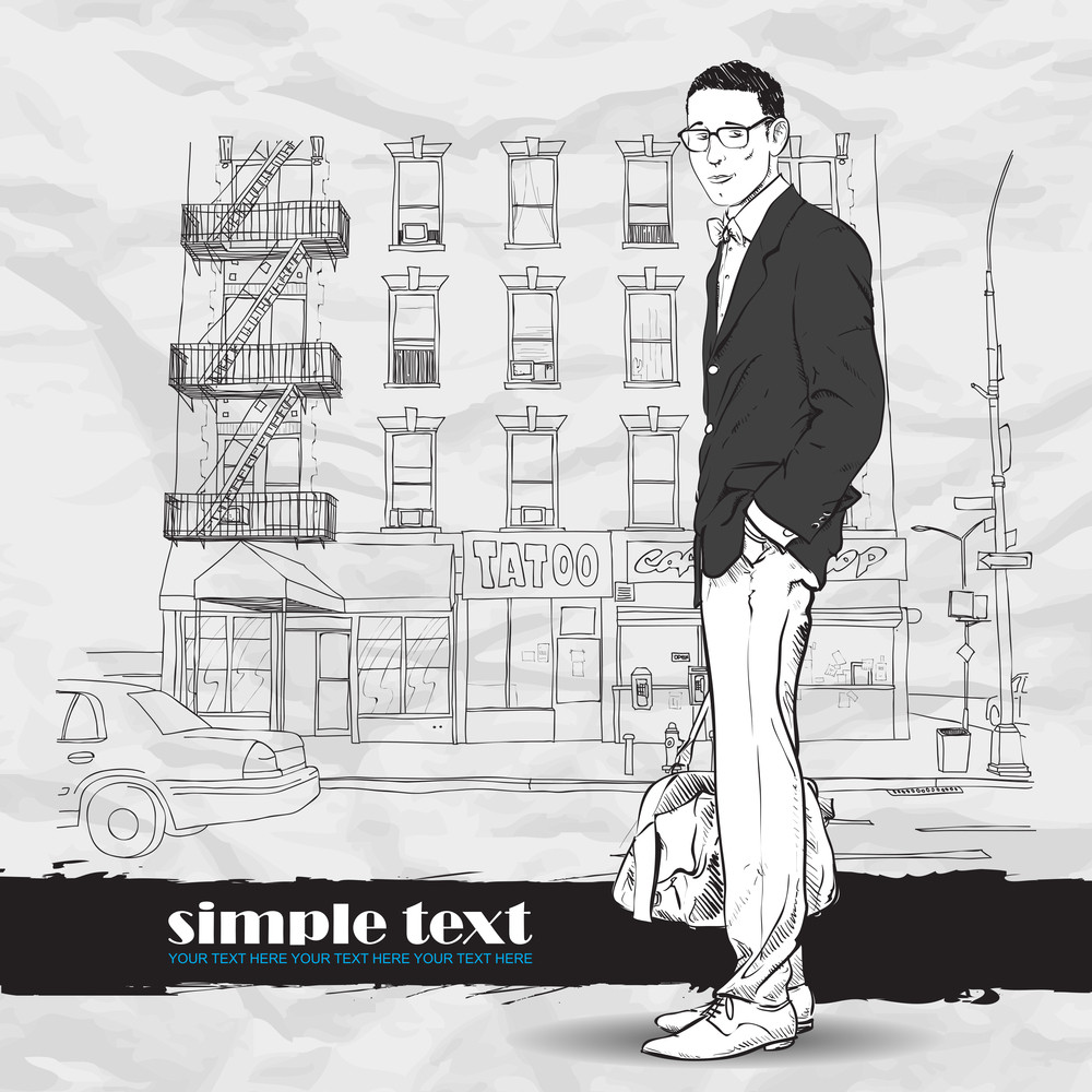 Fashion Boy With Bag On A Street-background. Vector Illustration.