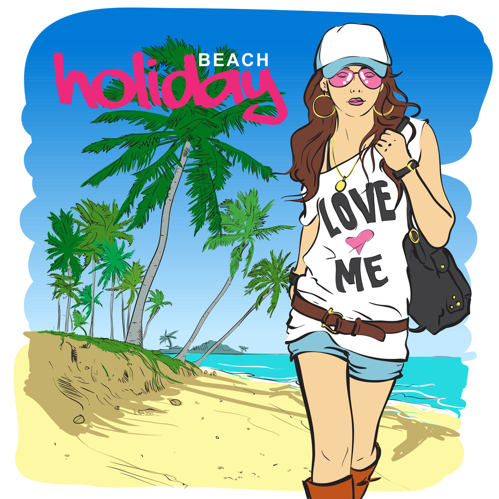 Fashion Girl In Sketch Style On A Beach-background.
