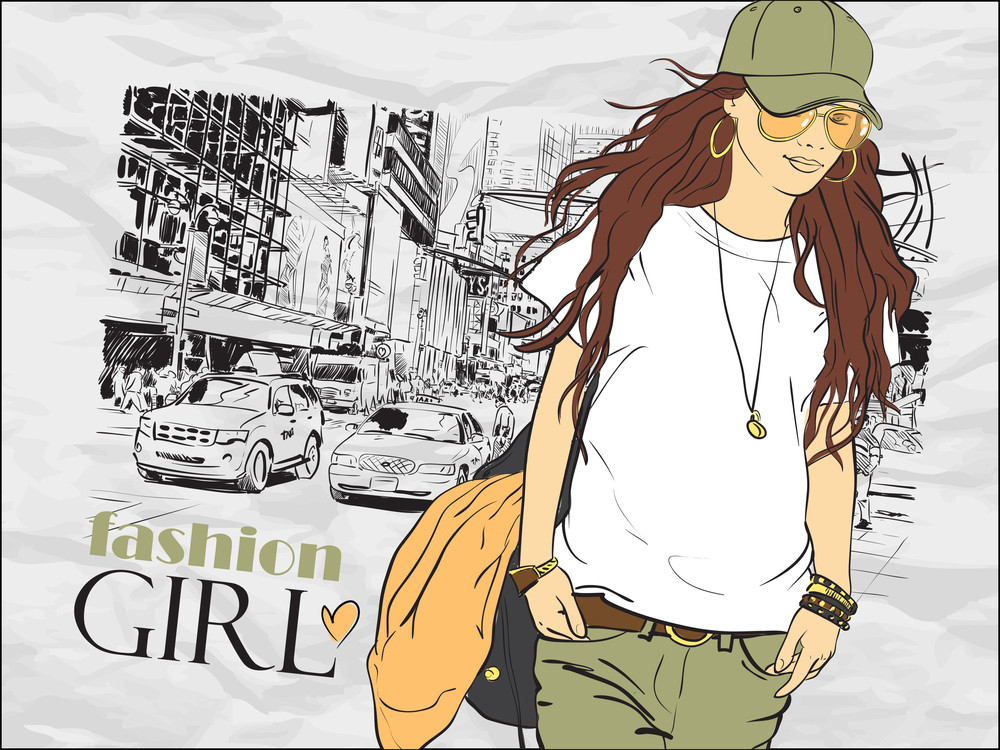 Fashion Girl In Sketch-style On A City-background. Vector Illustration.