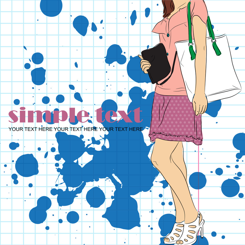 Fashion Girl In Sketch-style On A Dirty Background .vector Illustration.